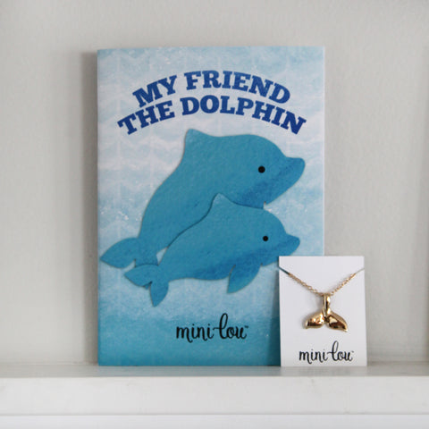 My Friend the Dolphin Coloring Book and Dolphin Tail Necklace Gift Set
