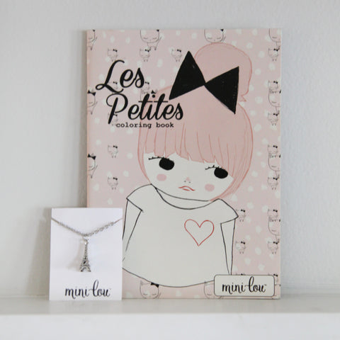 Les Petites Coloring Book and Eiffel Tower Necklace Gift Set