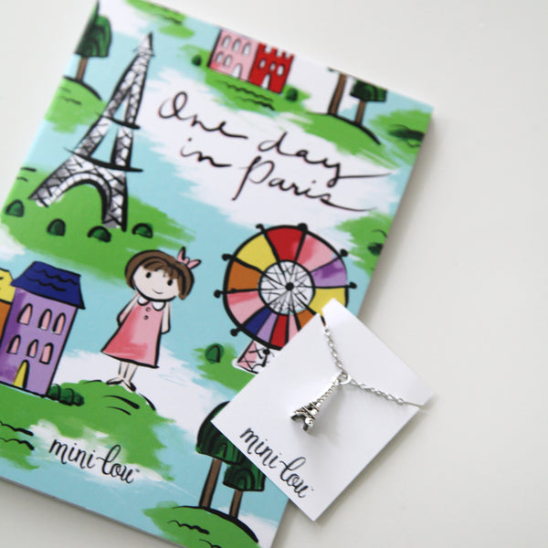 One Day in Paris Coloring Book and Eiffel Tower Necklace Gift Set