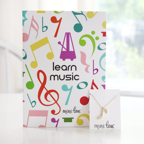 Learn Music Coloring Book and Musical Necklace Gift Set