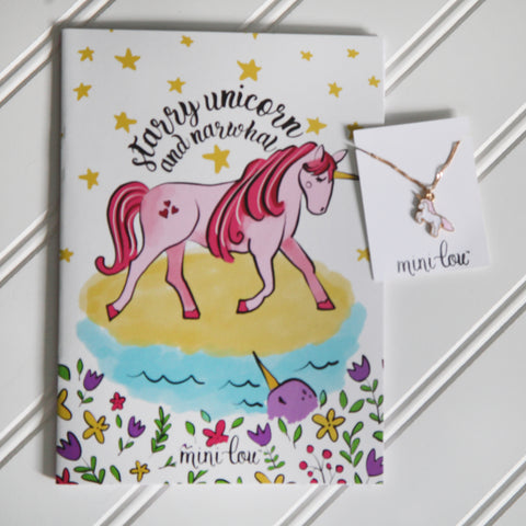 Starry Unicorn Coloring Book and Unicorn Necklace Gift Set