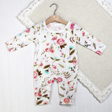 Baby Girl Long Sleeve Rompers - Floral White