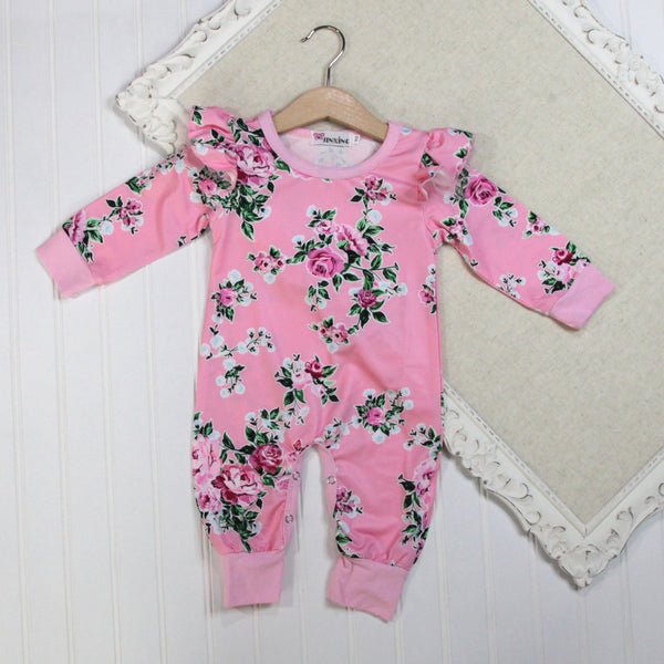 Baby Girl Long Sleeve Rompers - Pink Floral