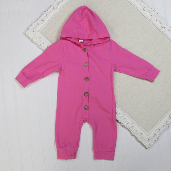Baby Girl Long Sleeve Rompers - Pink Hooded