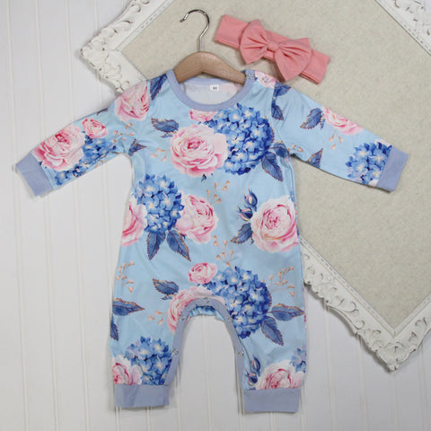 Baby Girl Long Sleeve Rompers - Blue Floral