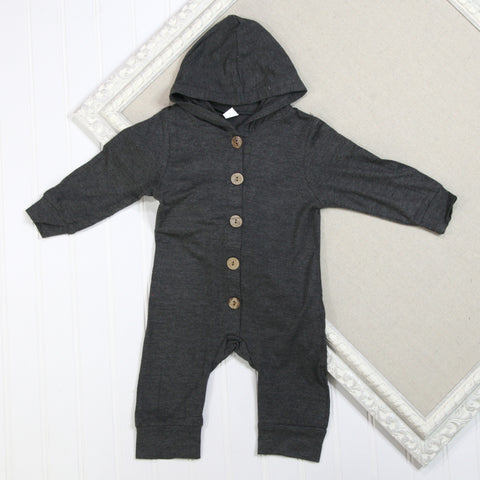 Baby Boy Long Sleeve Rompers - Gray Hooded