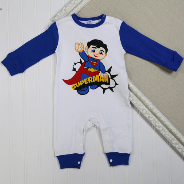 Baby Boy Long Sleeve Rompers - Superman