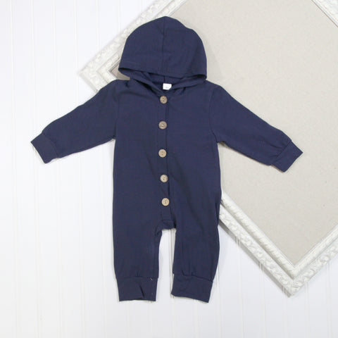 Baby Boy Long Sleeve Rompers - Navy Hooded