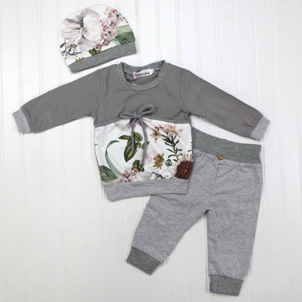Full Baby Outfits - Gray Girl