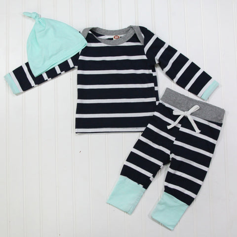 Full Baby Outfits - Navy Stripe