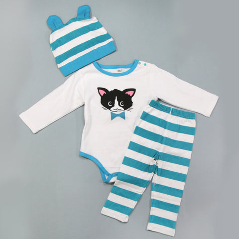 Full Baby Outfits -  Teal Stripe