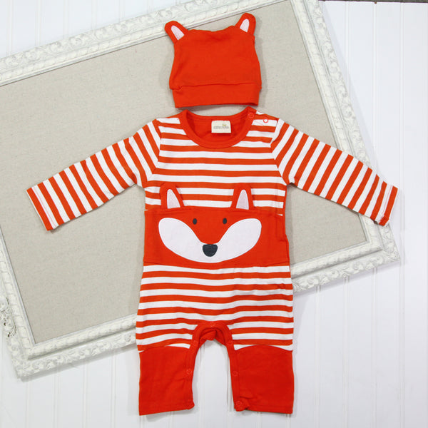 Baby Hat and Romper Set - Orange Fox