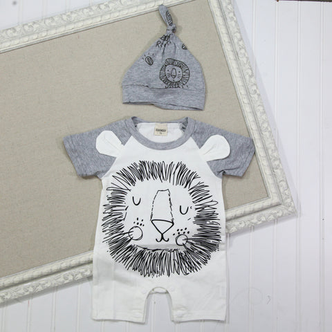 Baby Hat and Romper Set - Lion