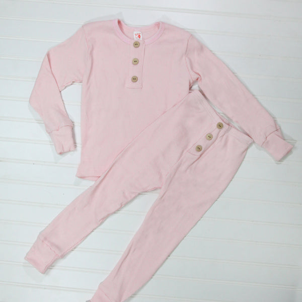 Fall Kid Pajamas -  Pink Button