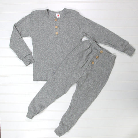 Fall Kid Pajamas -  Gray Button