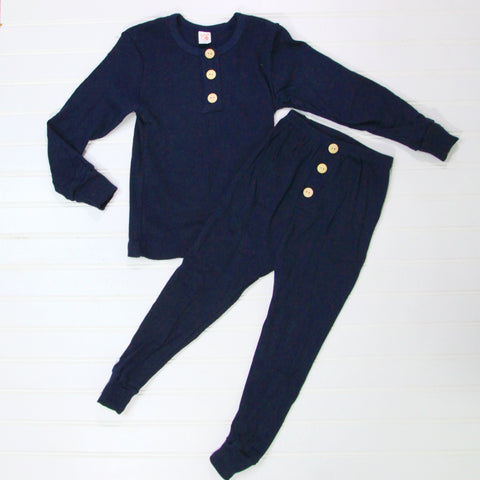 Fall Kid Pajamas -  Navy Button