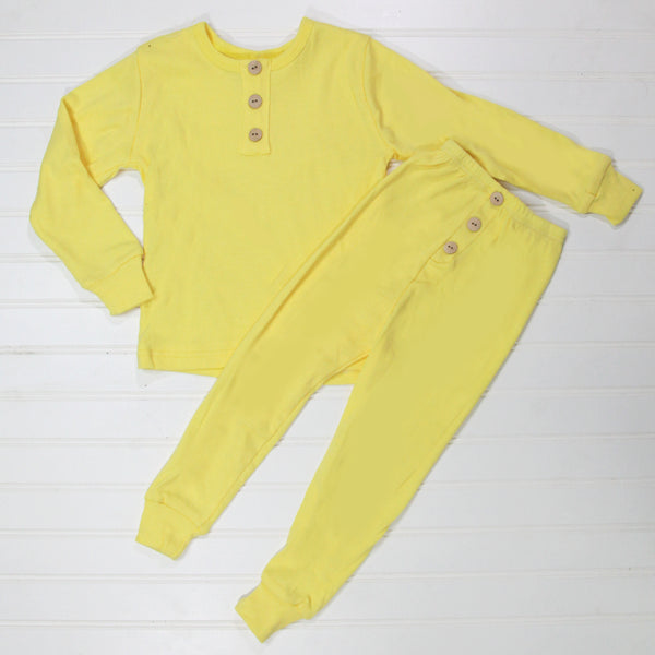 Fall Kid Pajamas -  Yellow Button
