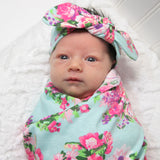 Swaddle Blanket with Headband or Hat | 26 Styles