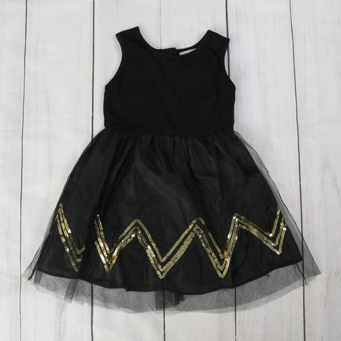 Fancy Baby Dress -Gold and Black