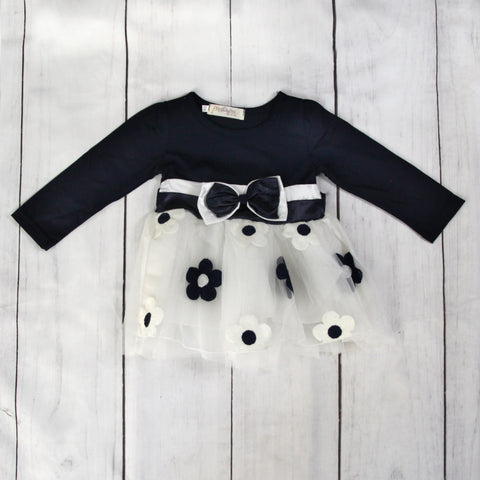 Fancy Baby Dress - Navy Bow