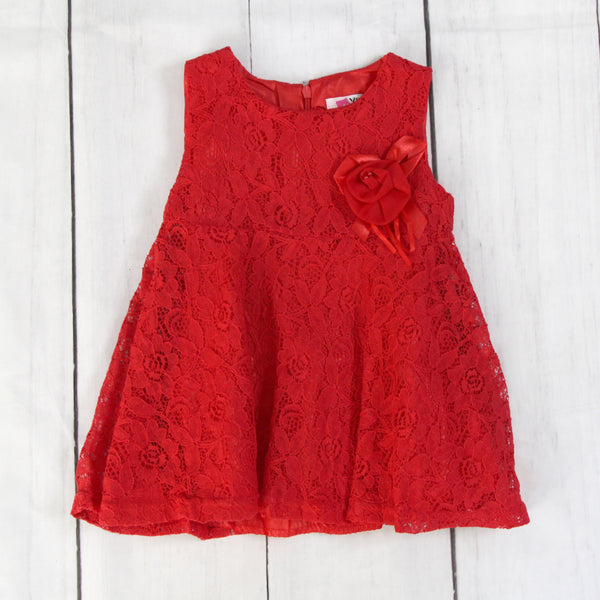 Fancy Baby Dress -Red Lacy