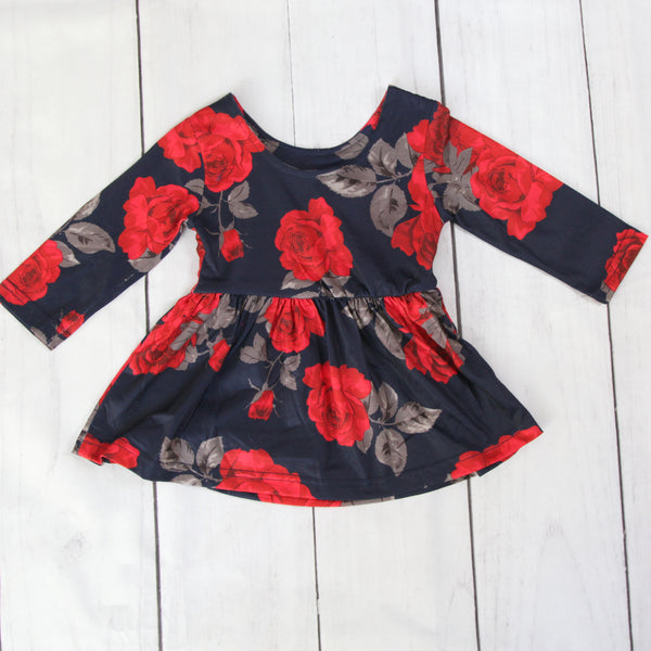 Fancy Baby Dress - Navy and Red Roses