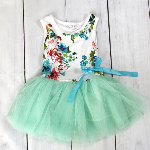 Fancy Baby Dress - Green Vintage Floral