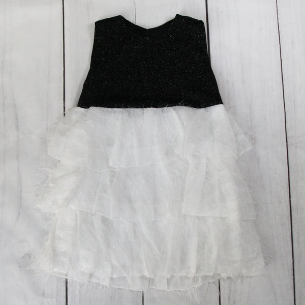 Fancy Baby Dress -Black and White Ruffle