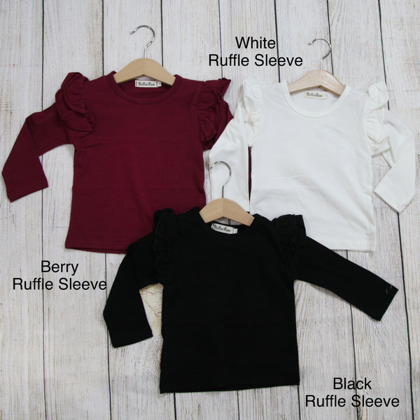 Girl Solid Long Sleeve Tops - Ruffle Sleeve