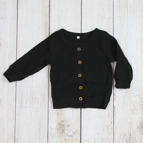 Layering Cardigan - Button Black