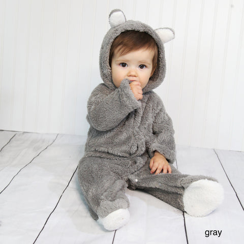 Baby Fleece Hooded Rompers - Gray