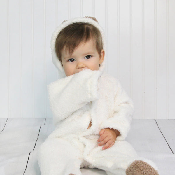 Baby Fleece Hooded Rompers - White