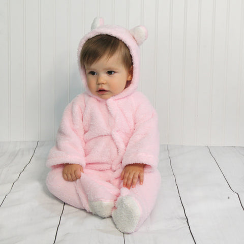 Baby Fleece Hooded Rompers - Pale Pink