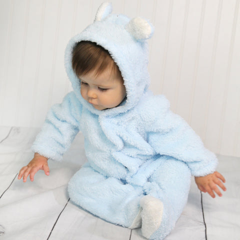 Baby Fleece Hooded Rompers - Pale Blue