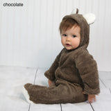 Baby Fleece Hooded Rompers - Chocolate