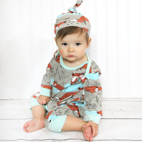 Baby Hat and Romper Set - Teal Fox