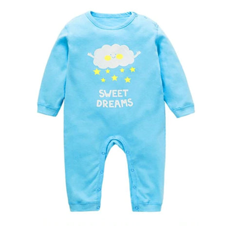 Long Sleeve Sleepy Baby Pajamas - Blue Rain Cloud