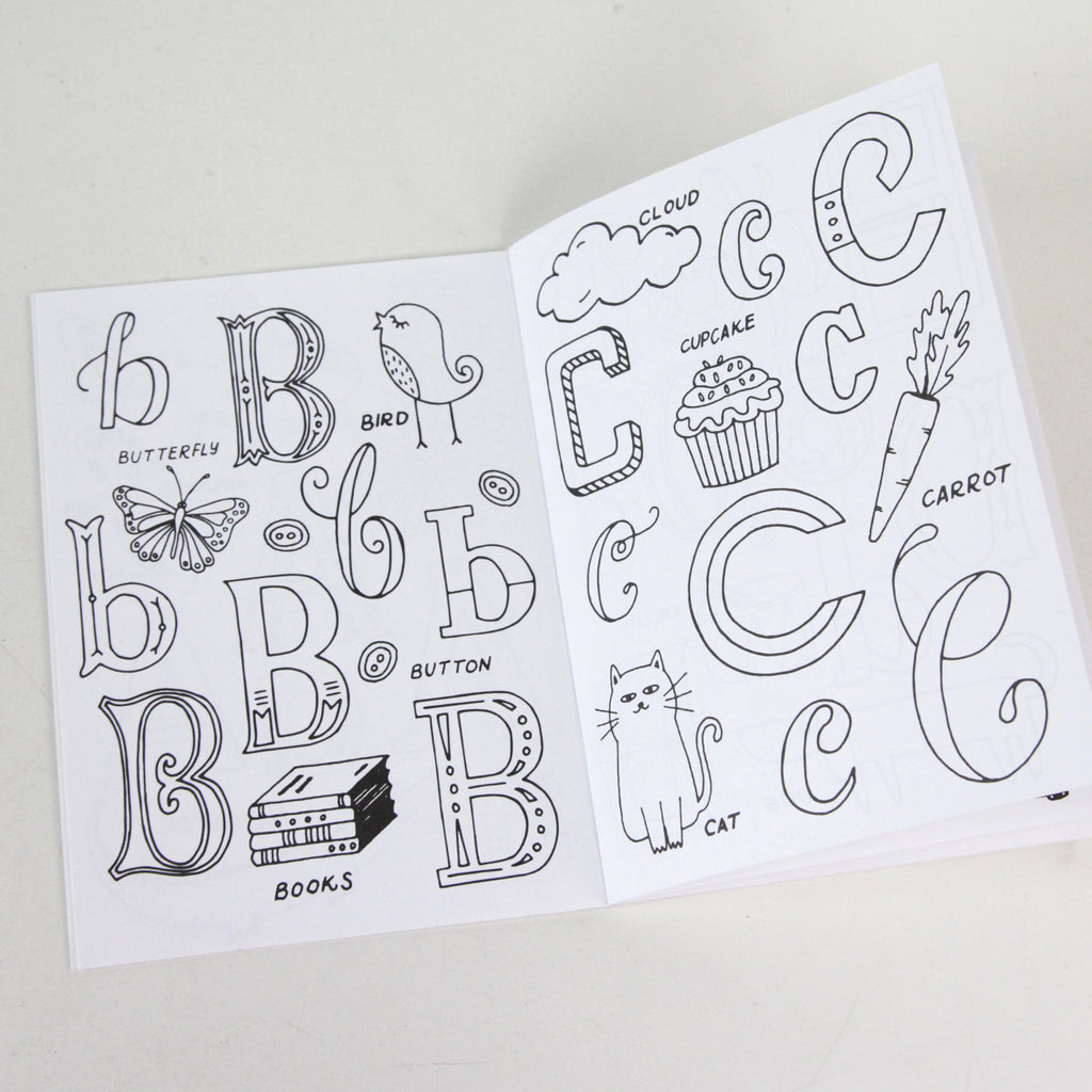 the little alphabet book of hand lettered type 5 x 7 coloring book - Coloring Book Paper Type