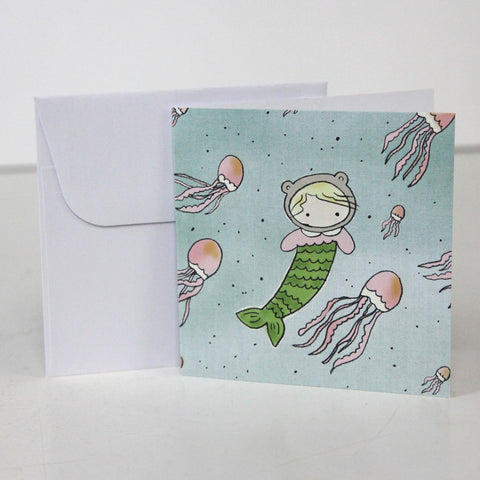 Little Mermaid 3.5 x 3.5 Gift Enclosure Card and Envelope