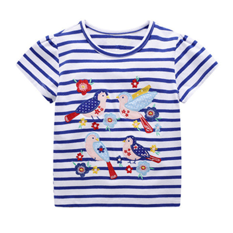 Girl Short Sleeve Tops - Birds