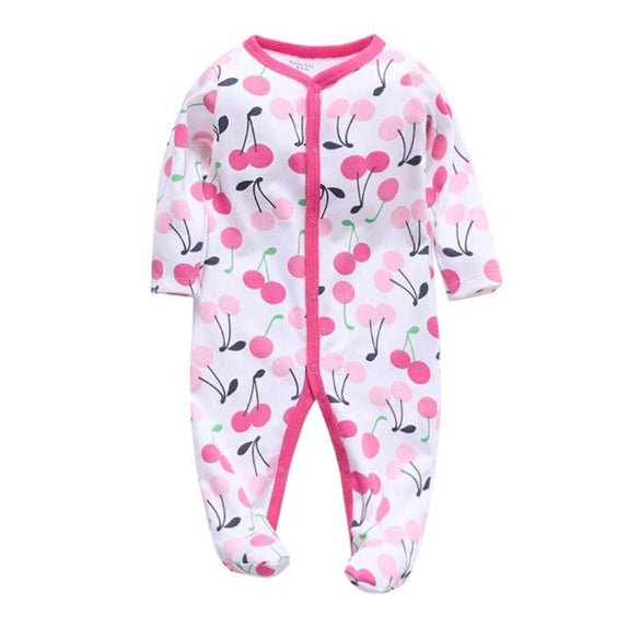 Cozy Baby Pajamas with Feet - Cherry