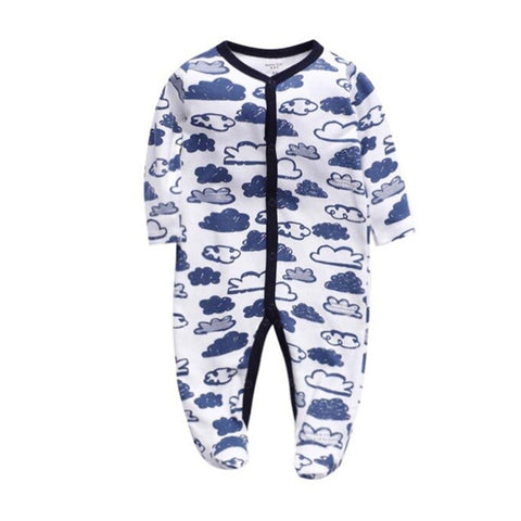 Cozy Baby Pajamas with Feet - Clouds