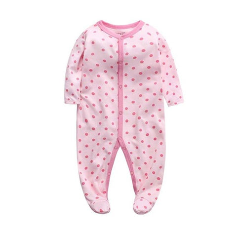 Cozy Baby Pajamas with Feet - Pink Polka Dot