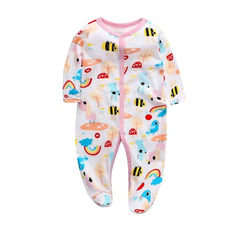 Cozy Baby Pajamas with Feet - Rainbow