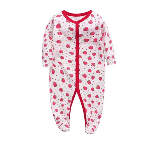 Cozy Baby Pajamas with Feet - Strawberry