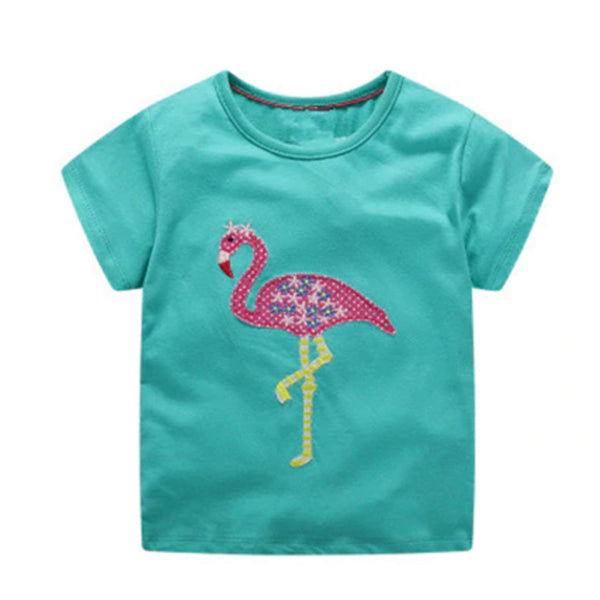 Girl Short Sleeve Tops - Flamingo