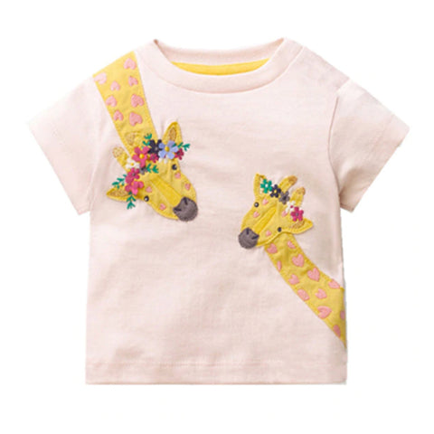 Girl Short Sleeve Tops - Giraffe