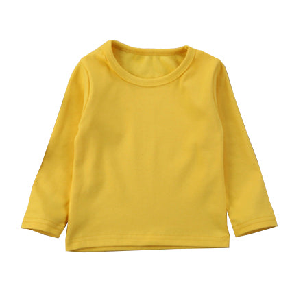 Girl Solid Long Sleeve Tops - Mustard Light Sweater