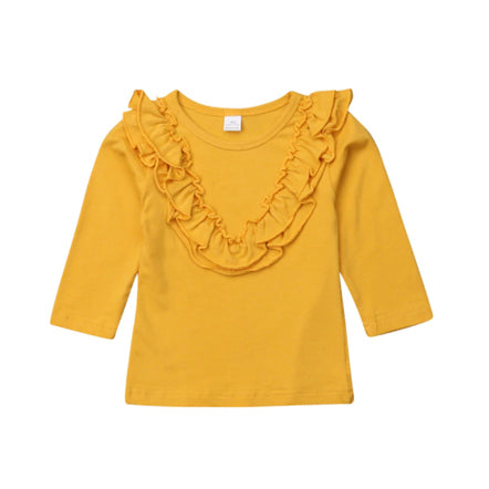 Girl Solid Long Sleeve Tops - Mustard Ruffle Blouse