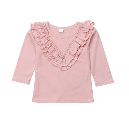 Girl Solid Long Sleeve Tops - Pink Ruffle Blouse